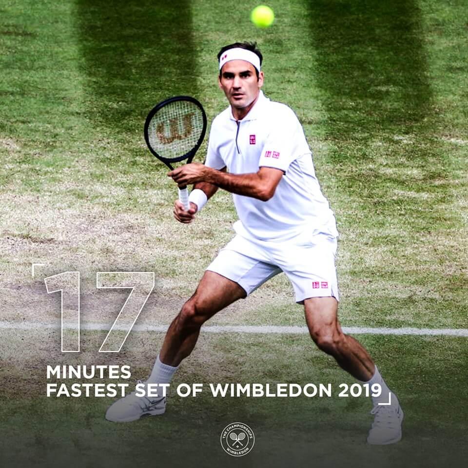 Roger Federer spielt den schnellsten Satz des diesjährigen Turniers.