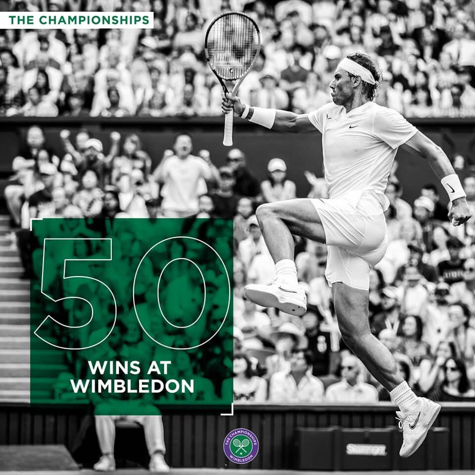 Rafael Nadal feiert seinen 50. Sieg bei Wimbledon