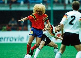 Beim Fußball Spiel gegen Ike Häßler, WM 1990